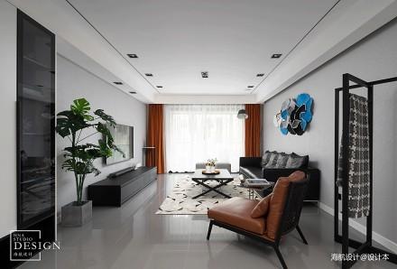 都市现代四居黑白灰客厅装饰设计图