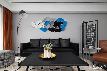 都市现代四居黑白灰客厅背景墙装饰设计图