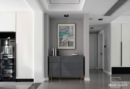 都市现代四居黑白灰玄关装饰设计图四居及以上现代简约家装装修案例效果图