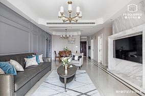 温馨82平美式三居客厅布置图三居美式经典家装装修案例效果图