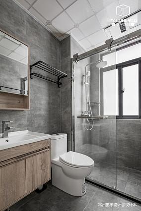 优雅82平美式三居卫生间效果图片大全三居美式经典家装装修案例效果图