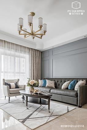 温馨78平美式三居客厅设计效果图三居美式经典家装装修案例效果图