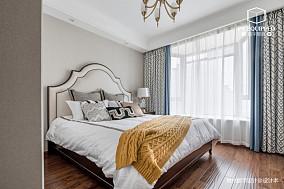 明亮92平美式三居卧室装饰图三居美式经典家装装修案例效果图
