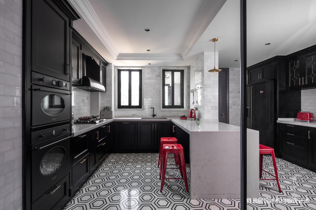 轻奢117平法式四居厨房装饰图片餐厅橱柜欧式豪华厨房设计图片赏析