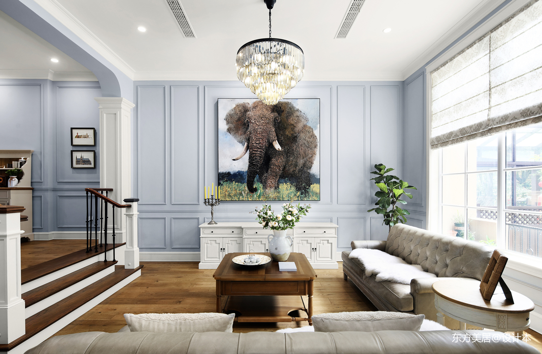 质朴380平美式别墅客厅效果图欣赏别墅豪宅美式经典家装装修案例效果图