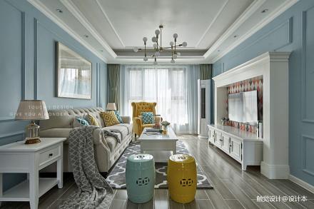 雅静的混搭风格客厅设计三居潮流混搭家装装修案例效果图