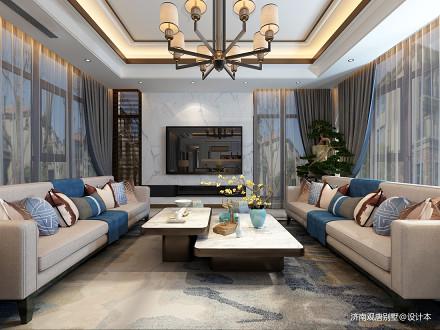 中式客厅家装151-200m²别墅豪宅中式现代家装装修案例效果图