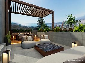 明亮612平中式别墅阳台实拍图151-200m²别墅豪宅中式现代家装装修案例效果图