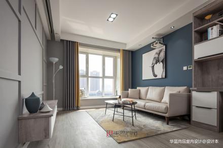 华丽88平北欧三居客厅设计效果图三居北欧极简家装装修案例效果图