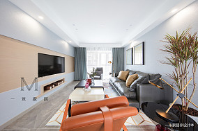 简洁74平北欧二居客厅装饰美图二居北欧极简家装装修案例效果图