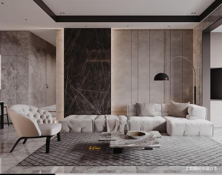 大气200平现代复式客厅装修图复式现代简约家装装修案例效果图