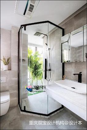 明亮85平混搭二居卫生间装饰图片二居潮流混搭家装装修案例效果图