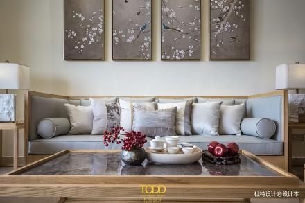 优雅138平中式三居客厅装修图片三居中式现代家装装修案例效果图