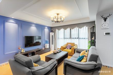 悠雅99平美式三居客厅装饰美图三居美式经典家装装修案例效果图