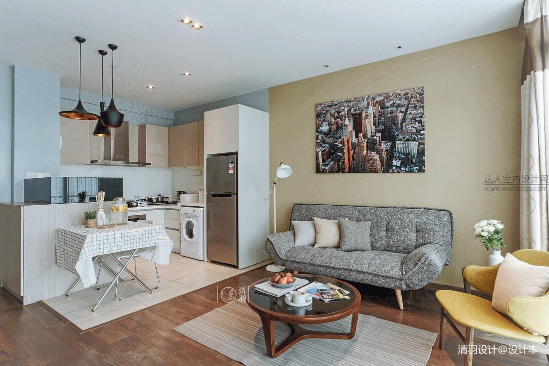 轻奢22平混搭小户型客厅装修案例客厅潮流混搭客厅设计图片赏析