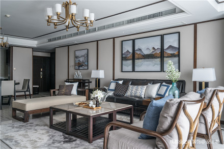 华丽203平中式别墅客厅装修图片