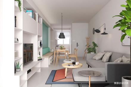 温馨60平北欧小户型客厅设计效果图一居北欧极简家装装修案例效果图