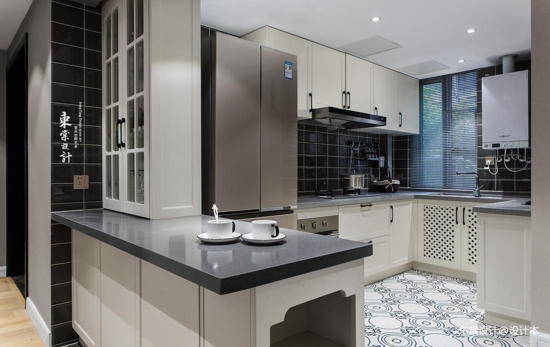 简洁84平美式三居餐厅实景图餐厅橱柜美式经典厨房设计图片赏析