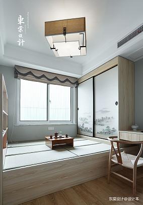 温馨97平中式三居书房装修设计图三居中式现代家装装修案例效果图