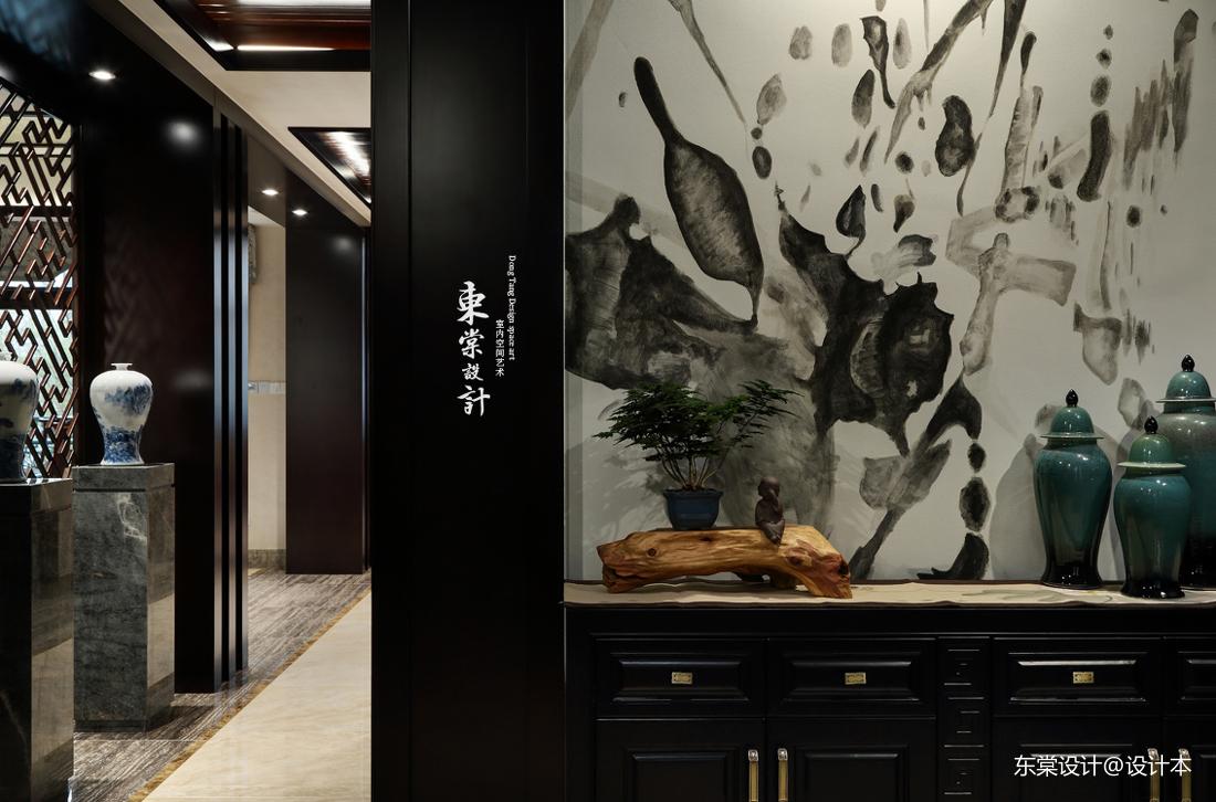 质朴251平中式别墅玄关效果图欣赏玄关中式现代玄关设计图片赏析