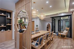 优雅69平中式复式餐厅装修图片