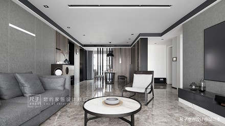 【尺子室内设计】臻境|175㎡黑白灰大宅,演绎品质生活客厅
