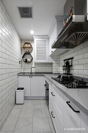 典雅89平美式二居厨房布置图