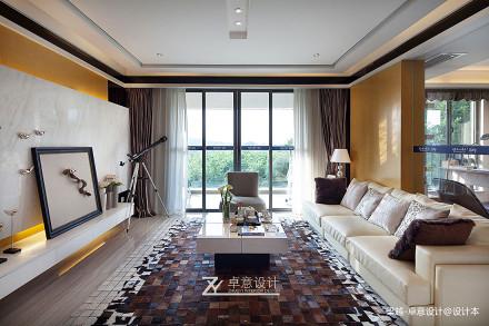 明亮128平简约四居客厅效果图片大全四居及以上现代简约家装装修案例效果图