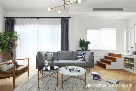 华丽160平北欧复式客厅实景图片复式北欧极简家装装修案例效果图