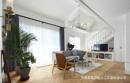 质朴78平北欧复式客厅装饰图