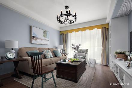 精美101平美式三居客厅设计图