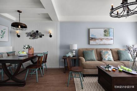 悠雅100平美式三居客厅装修效果图三居美式经典家装装修案例效果图