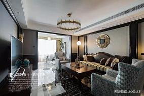 美式风客厅装修设计三居美式经典家装装修案例效果图