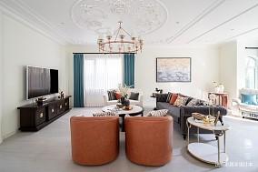 悠雅400平美式别墅客厅装修装饰图
