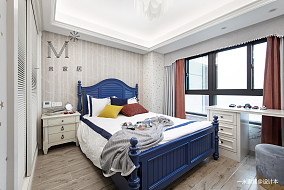 明亮57平美式二居卧室装修效果图二居美式经典家装装修案例效果图