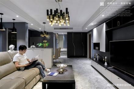 简洁92平现代三居客厅布置图