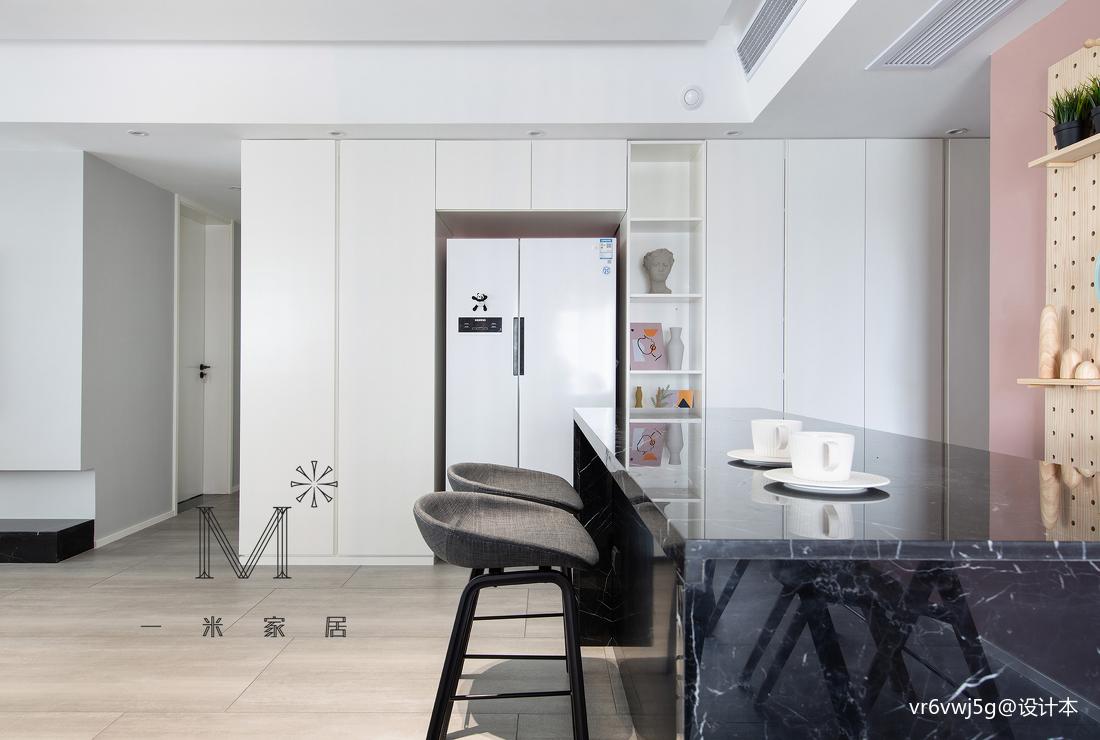 140m²现代北欧餐厅储物柜设计厨房现代简约餐厅设计图片赏析