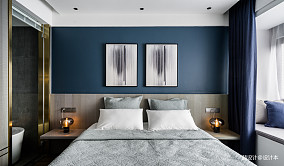 黑色简约卧室挂画设计卧室现代简约设计图片赏析