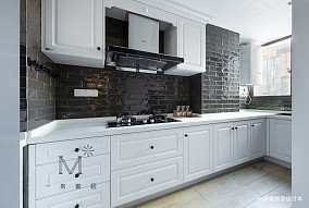 优美80平美式二居厨房装修效果图二居美式经典家装装修案例效果图