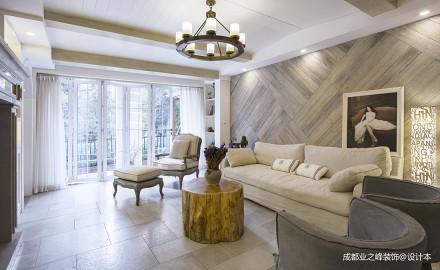 优美160平美式三居客厅装饰图片三居美式经典家装装修案例效果图