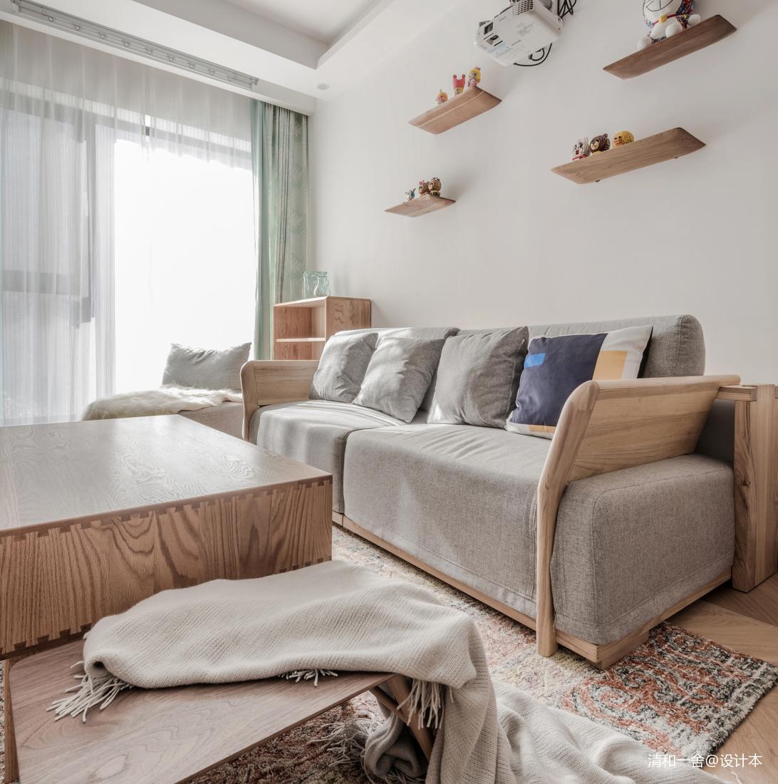 85平米日系MUJI风客厅隔板设计客厅日式客厅设计图片赏析