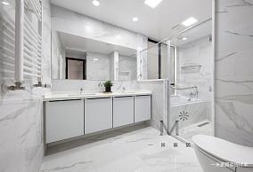 简洁107平北欧三居卫生间装修设计图三居北欧极简家装装修案例效果图