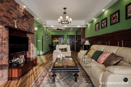 优雅84平美式三居客厅设计案例三居美式经典家装装修案例效果图