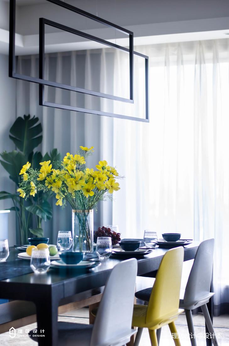 精美123平现代三居餐厅设计效果图厨房窗帘现代简约餐厅设计图片赏析