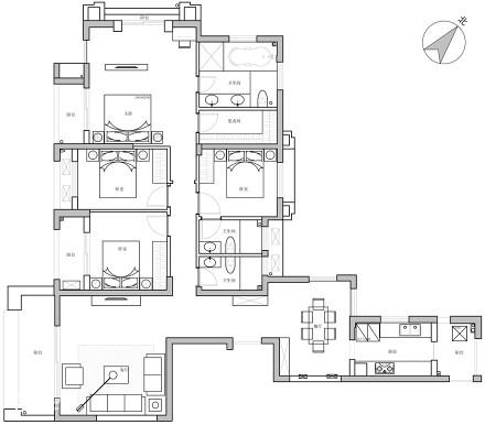 典雅56平北欧二居装修装饰图
