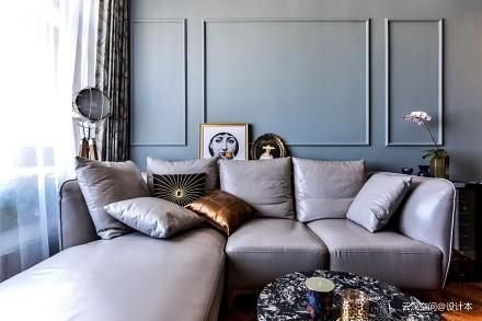轻奢55平新古典二居客厅图片大全