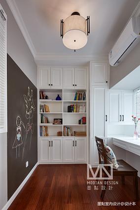 明亮111平美式四居书房装修效果图四居及以上美式经典家装装修案例效果图