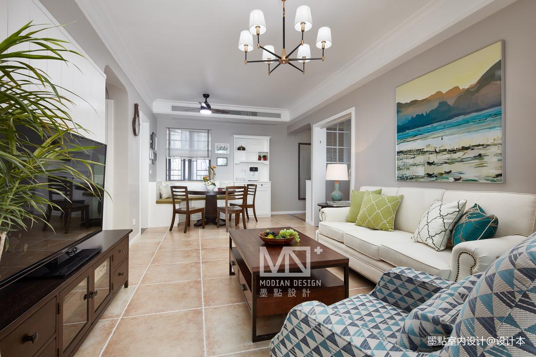 悠雅100平美式四居客厅装修图片四居及以上美式经典家装装修案例效果图