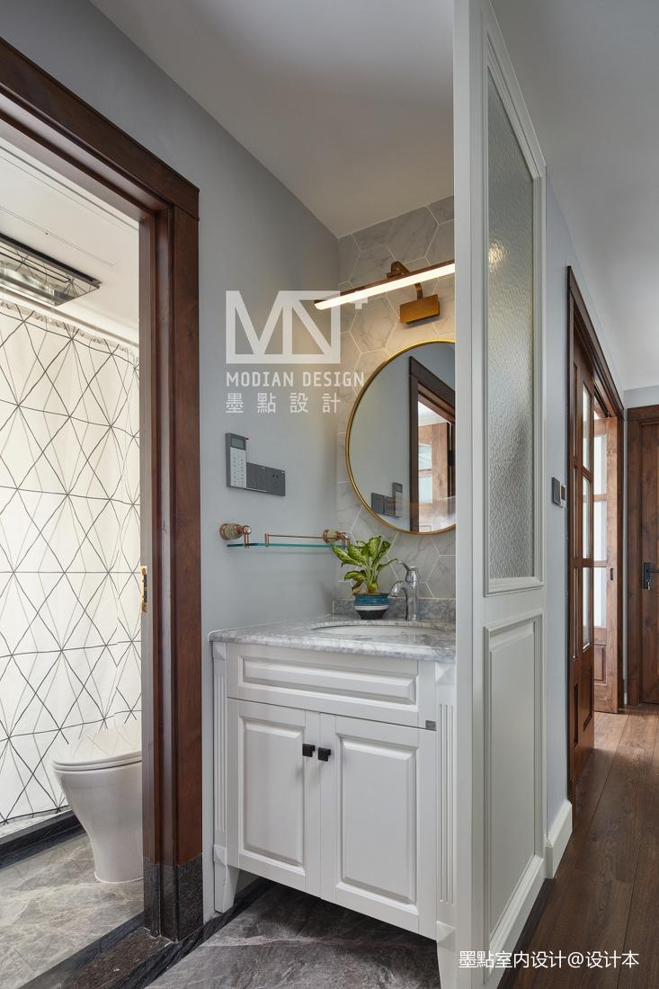 质朴88平美式三居卫生间效果图片大全卫生间美式经典卫生间设计图片赏析