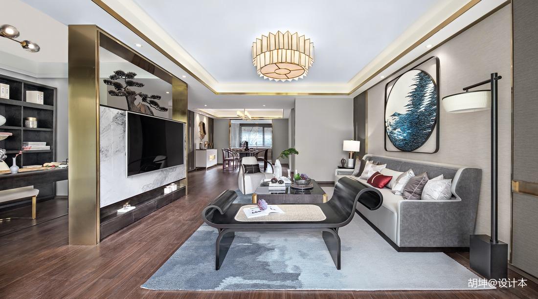 质朴198平中式样板间客厅装饰美图样板间中式现代家装装修案例效果图